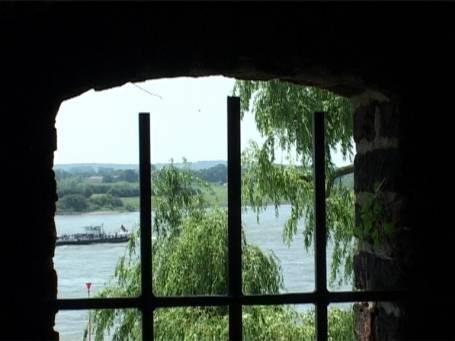 Rees : Rheinpromenade, Aussicht vom Mühlenturm über den Rhein